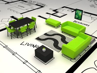 Model eines Wohnzimmers und eine Technische Zeichnung.